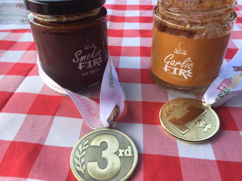 Smokin Fire and Garlic Fire jar with 3rd and 1st Medals.